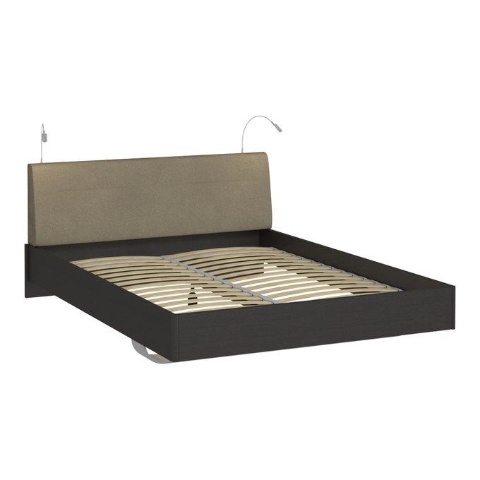 Кровать Элеонора 180х200 с изголовьем серого-бежевого цвета и двумя светильниками