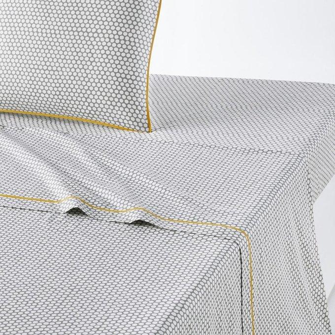 Простынь Duo из перкаля серо-белого цвета 180x290