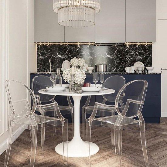 Стол Tulip с круглой столешницей белого цвета 100х73