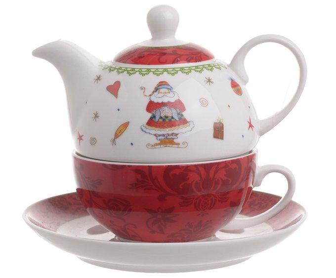 Чайник-чашка с блюдцем красного цвета