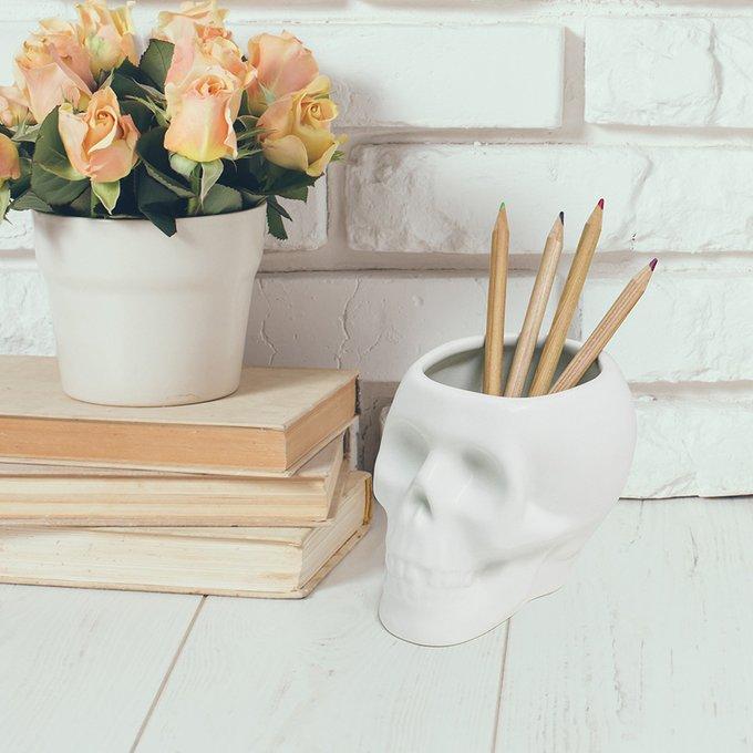 Держатель для ручек керамический Skully белый маленький