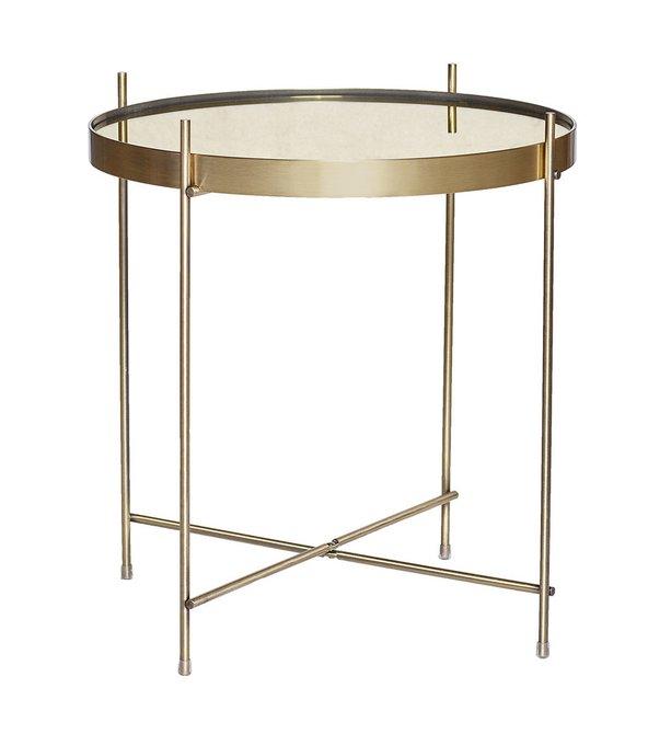 Круглый кофейный столик  золотого цвета