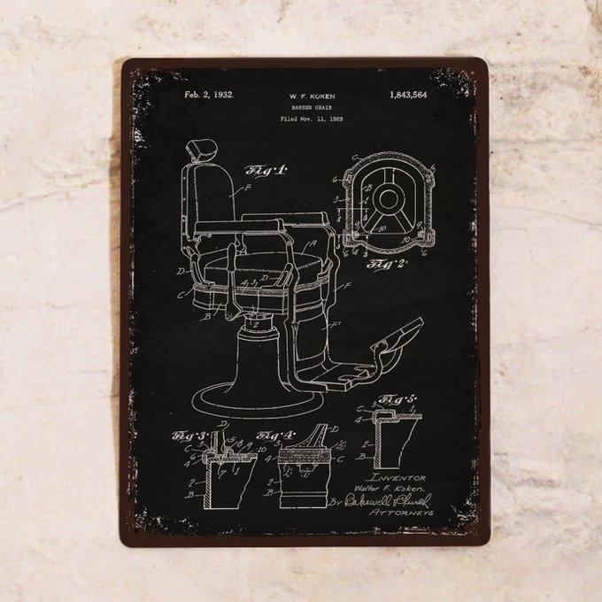 Ретро табличка  для барбершопа черного цвета