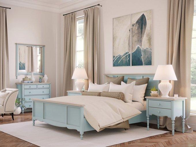 Кровать двуспальная Leblanc c изножьем голубого цвета 160х200