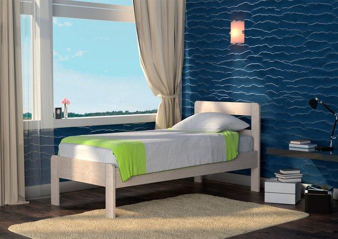 Кровать Кредо 1 из массива тополя-белый 80х195