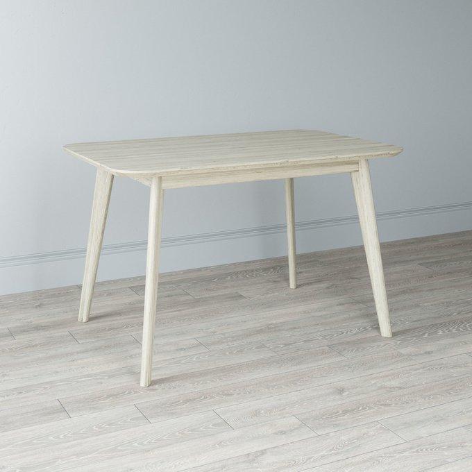Стол обеденный Elia с подстольем из массива цвета беленый дуб 120х75