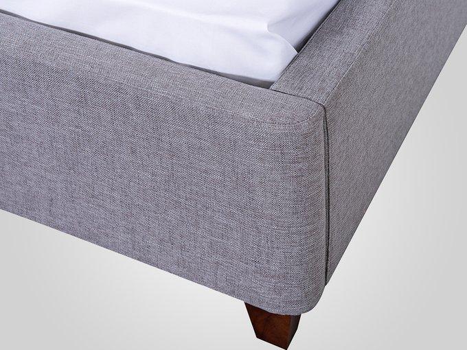 Кровать с обивкой из ткани серого цвета 160X200