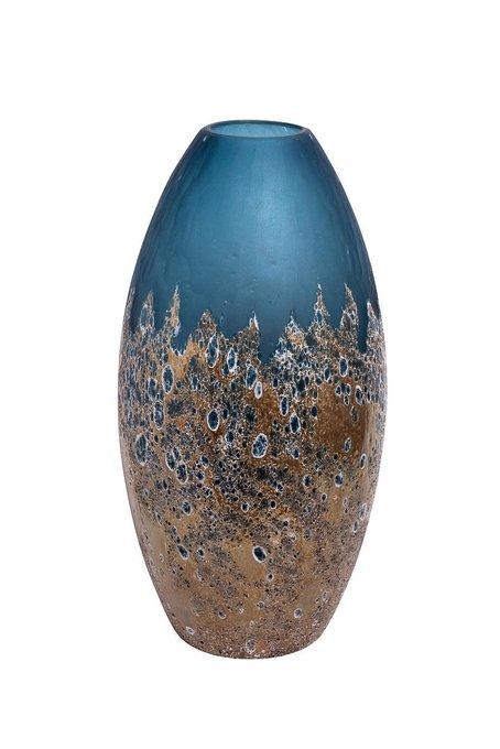 Стеклянная ваза золото-голубого цвета