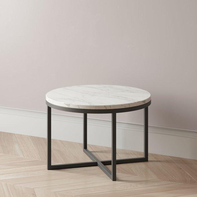 Журнальный столик Lilia large с белой столешницей и черным подстольем