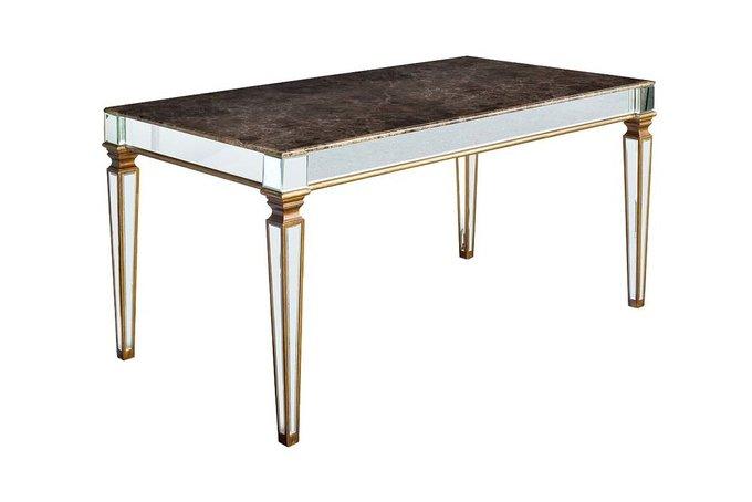 Обеденный стол с зеркальными вставками и мраморной столешницей