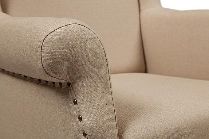 Кресло French Wing Chair Кремовый Лен