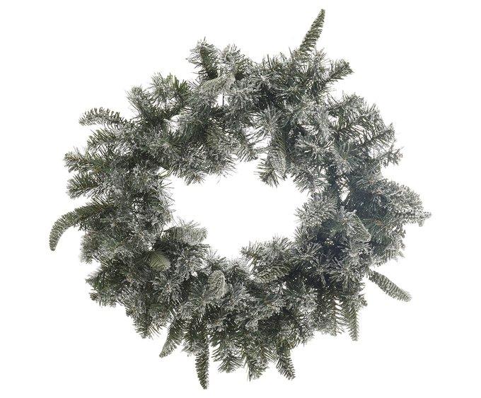 Новогоднее украшение снежный венок зеленого цвета