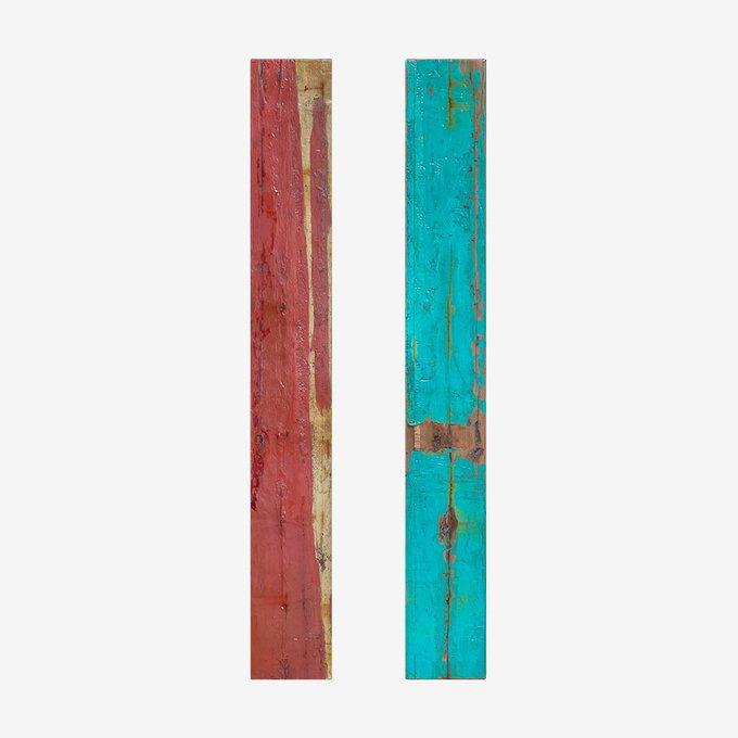 Доска корабельного борта коричнево-бирюзового цвета