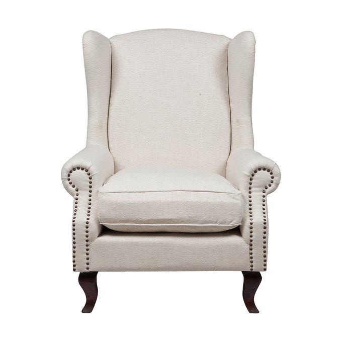 Кресло Collins Wingback Chair Белый Лен