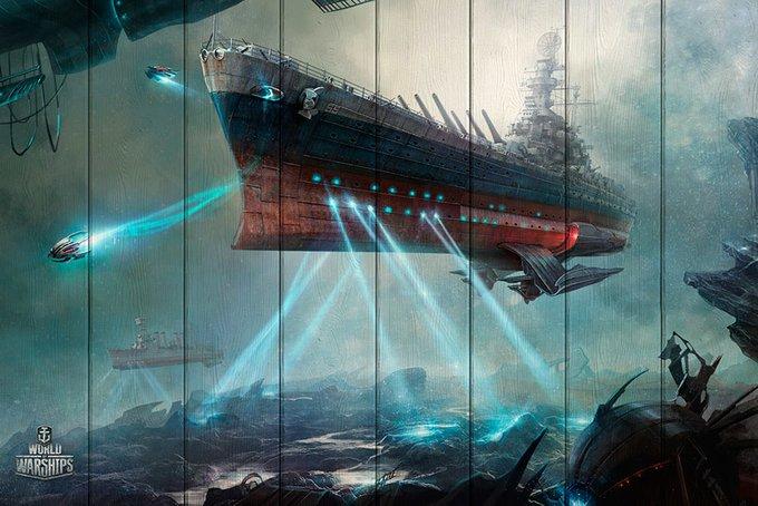 Картина на дереве Подводный корабль 80х120