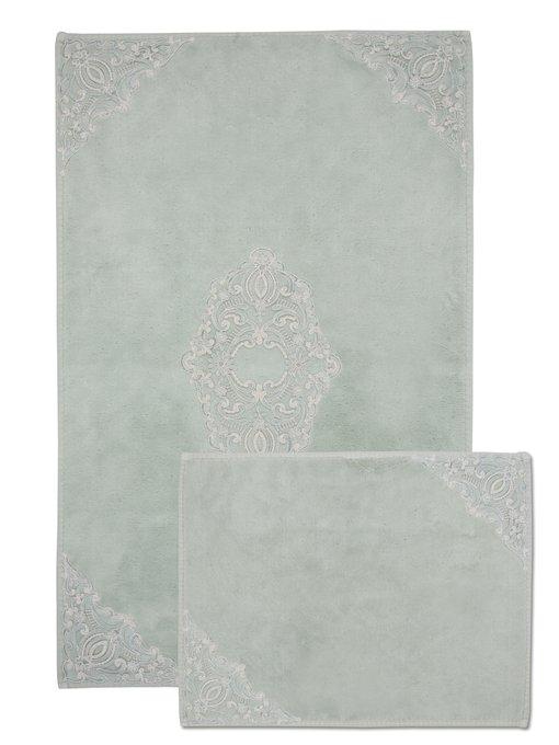 Набор из двух ковриков для ванной из хлопка серого цвета