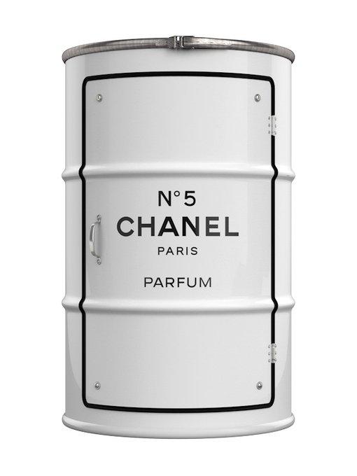 Бочка-тумбочка Chanel L белого цвета
