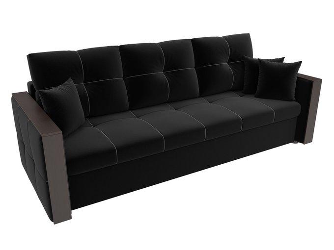 Прямой диван-кровать Валенсия черного цвета