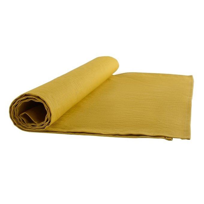Дорожка на стол из умягченного льна горчичного цвета
