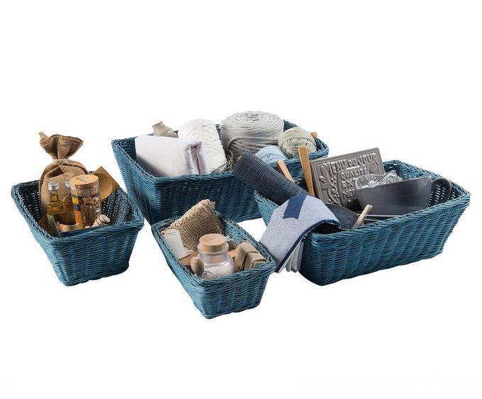 Набор из четырех корзин Rattan синего цвета