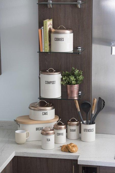 Емкость кухонная Vintage Copper белого цвета