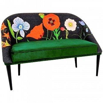 Диван «Ночной сад / Грин» с цветочным принтом