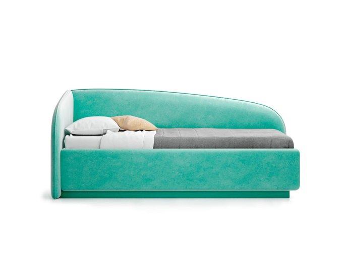 Кровать Amelia левая мятного цвета с решеткой 90х190