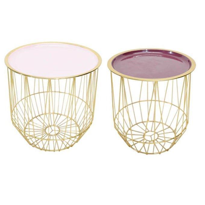 Набор из двух журнальных столиков с розовыми столешницами