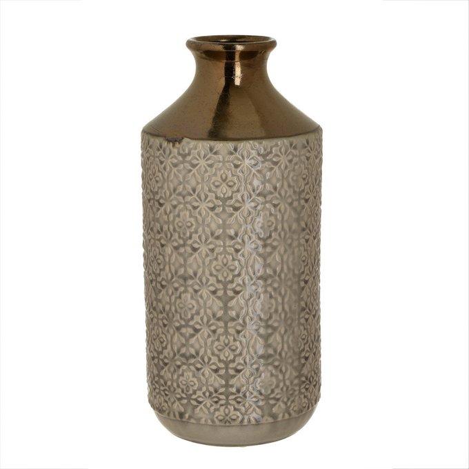 Керамическая ваза бежево-золотого цвета