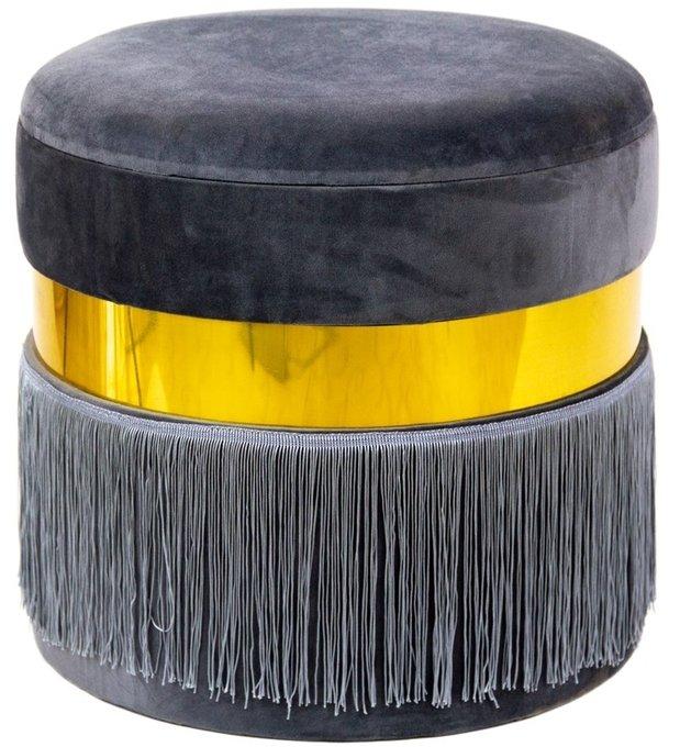 Пуф серого цвета с металлическим обрамлением