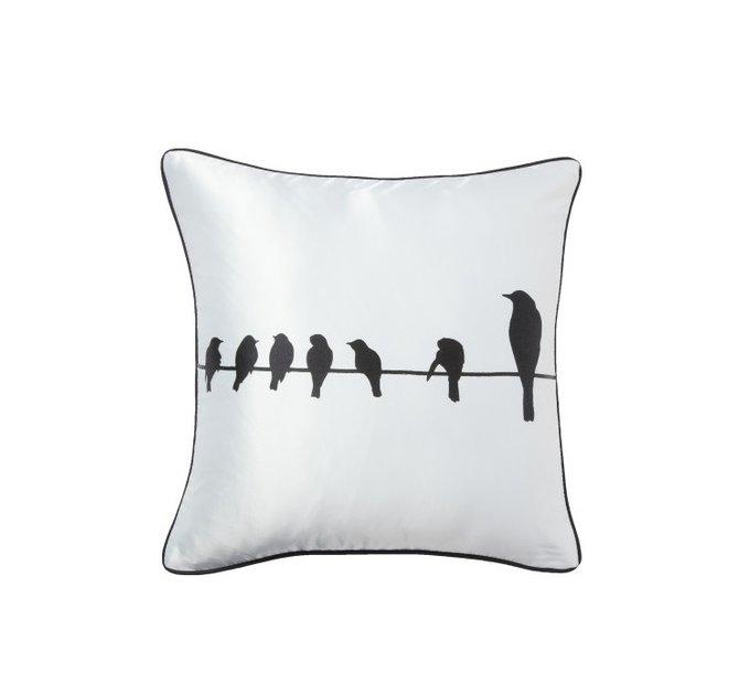 Подушка с принтом Birdies On A Wire White
