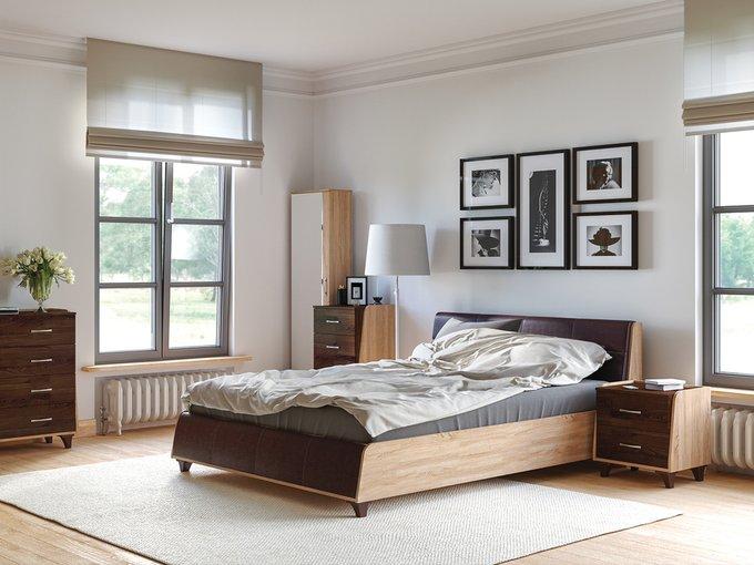 Кровать Келли с ортопедическим основанием цвета дуб сонома/иск.кожа 140х200