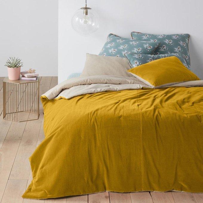 Покрывало Velvet из велюра желтого цвета 230x250