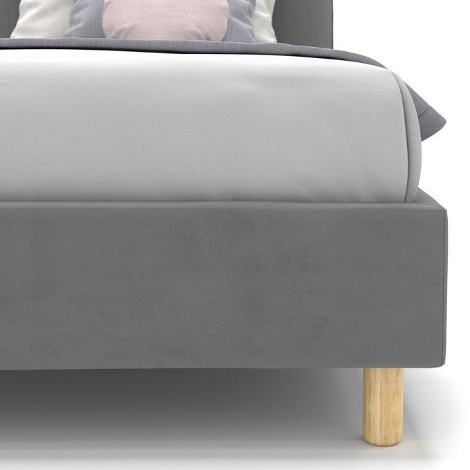 Односпальная кровать Alana на ножках серого цвета 120х200
