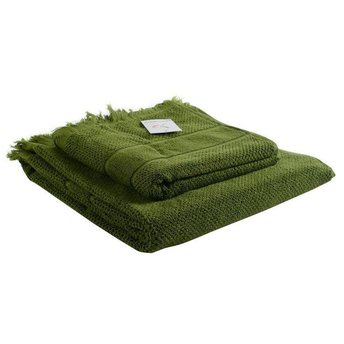 Полотенце банное с декоративной бахромой оливково-зеленого цвета