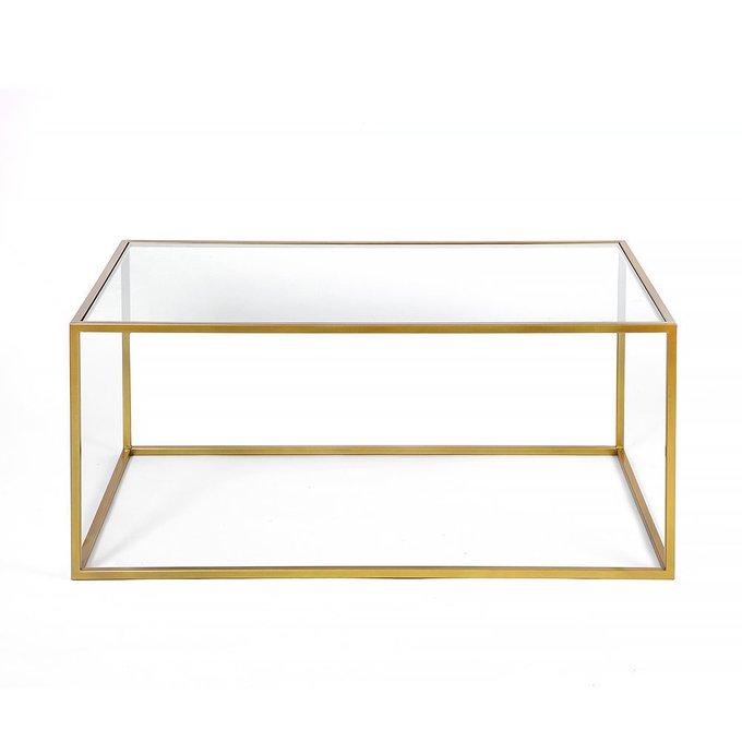 Журнальный стол Darmian into gold с прозрачной столешницей
