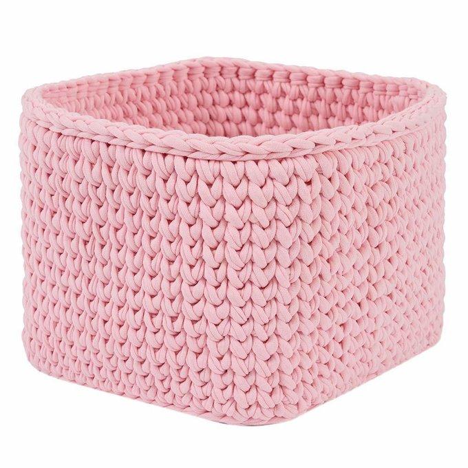 Вязаная корзина квадратная розового цвета