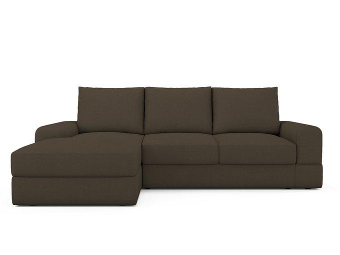 Угловой Диван-кровать Elke левый темно-коричневого цвета