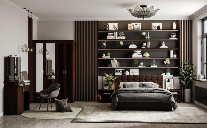 Кровать Инуа 160х200 темноо-коричневого цвета с подъемным механизмом