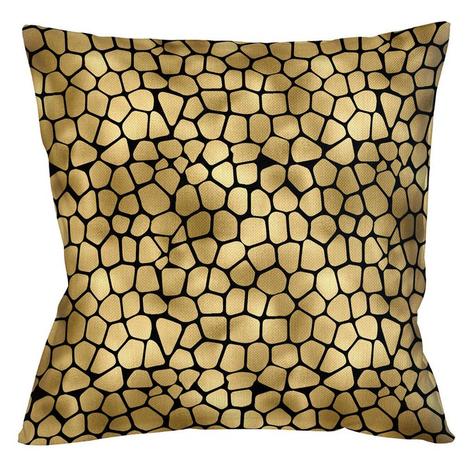 Интерьерная подушка Сафари черно-золотого цвета
