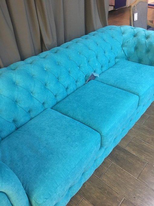 Трехместный раскладной диван Бергамо бирюзового цвета
