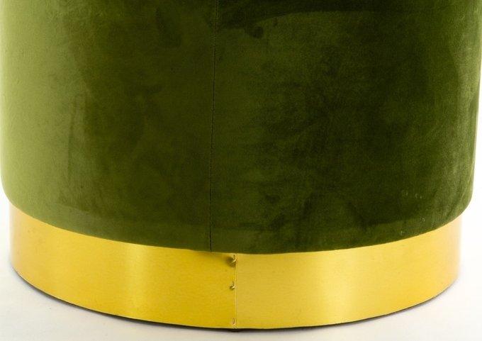 Пуф зеленого цвета на металлической подставке