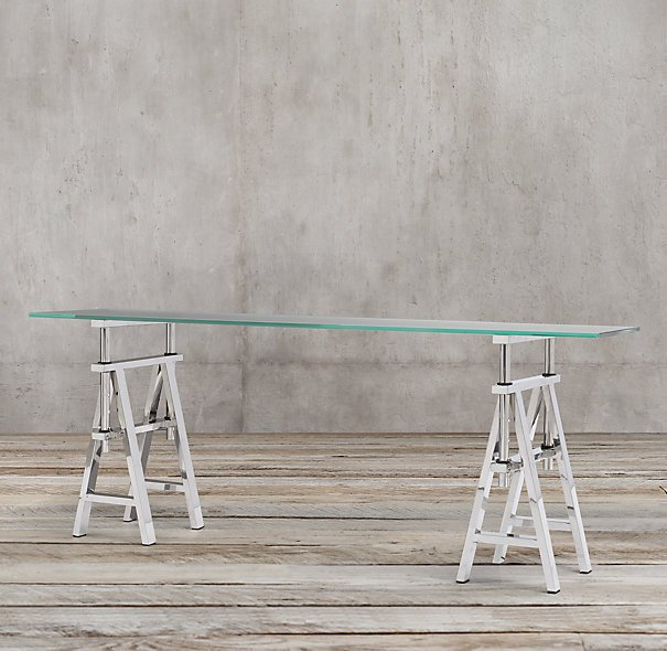 Консоль Industrial sawhorse polished stainless steel