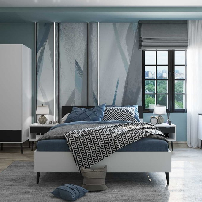 Кровать Oslo 180х200 с черным изголовьем