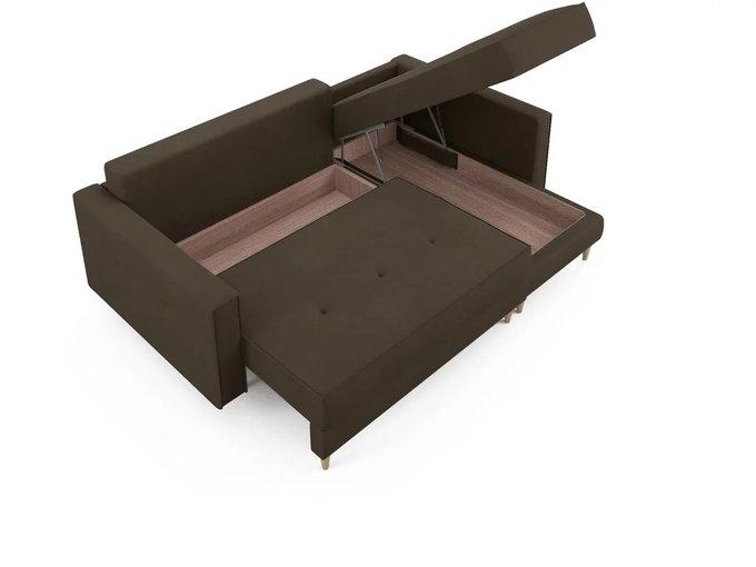 Угловой Диван-кровать ОТТО правый коричневого цвета