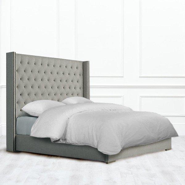 Кровать Aspleen из массива с обивкой серого цвета