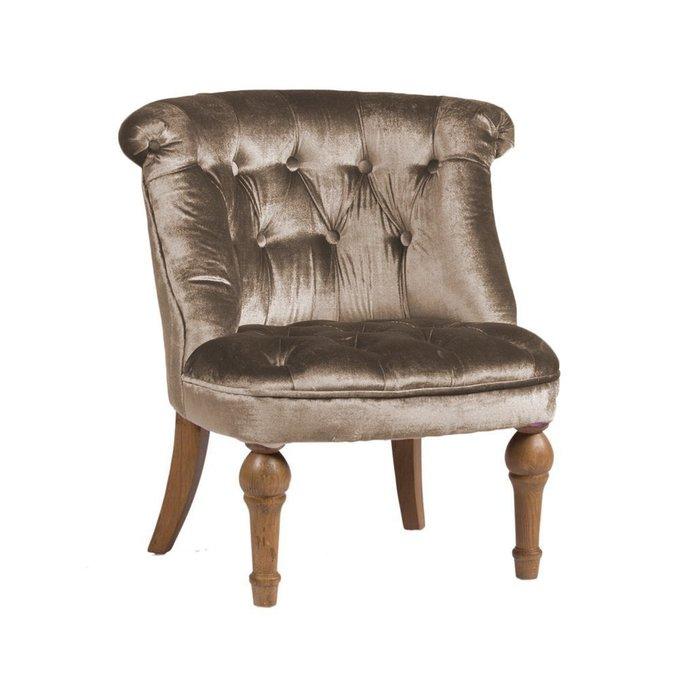 Кресло Sophie Tufted Slipper Chair Серо-Коричневый Микровелюр