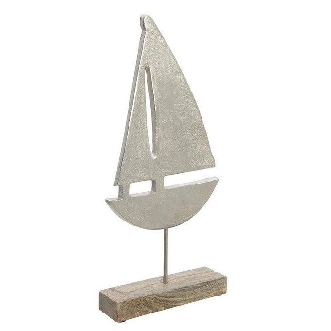 Декор настольный Лодка серебристого цвета
