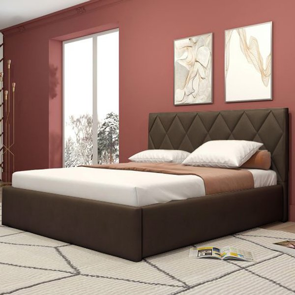 Кровать Миа коричневого цвета с подъемным ортопедическим основанием 160х200