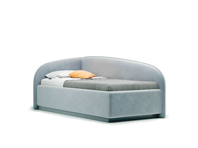 Кровать Amelia левая серого цвета с решеткой 90х190